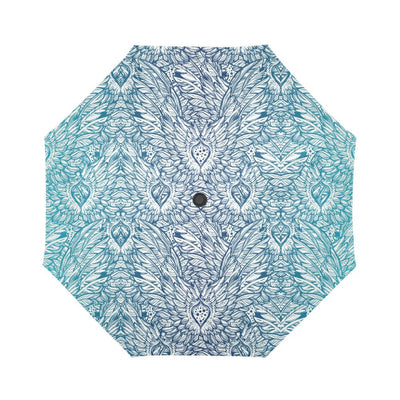 Angel Wings Boho Design Themed Print Automatic Foldable Umbrella