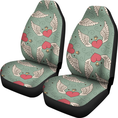 Angel Wings Heart Design Themed Print Universal Fit Car Seat Covers