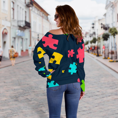 Autism Awareness Colorful Design Print Off Shoulder Sweatshirt