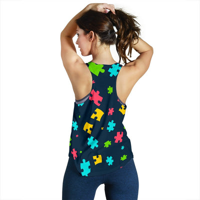 Autism Awareness Colorful Design Print Women Racerback Tank Top