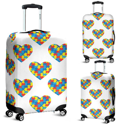 Autism Awareness Heart Design Print Luggage Cover Protector