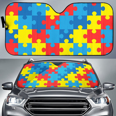 Autism Awareness Puzzles Design Print Car Sun Shade For Windshield