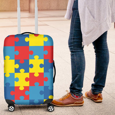 Autism Awareness Puzzles Design Print Luggage Cover Protector