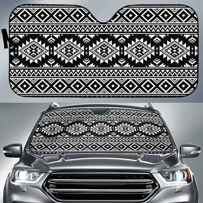 Aztec Black White Print Pattern Car Sun Shade For Windshield