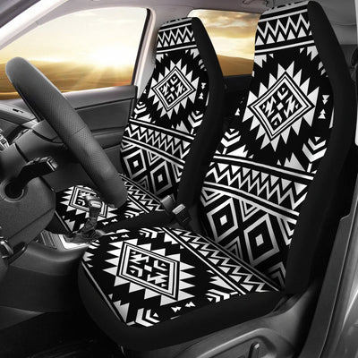 Aztec Black White Print Pattern Universal Fit Car Seat Covers