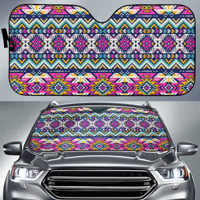 Aztec Pink Geometric Print Pattern Car Sun Shade For Windshield