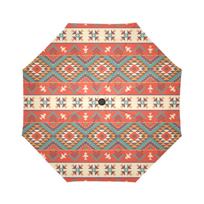 Aztec Red Print Pattern Automatic Foldable Umbrella