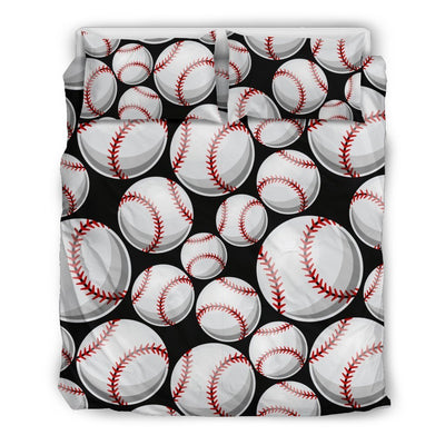 Baseball Black Background Duvet Cover Bedding Set