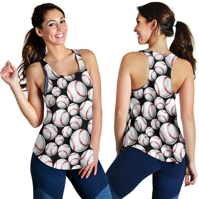 Baseball Black Background Women Racerback Tank Top