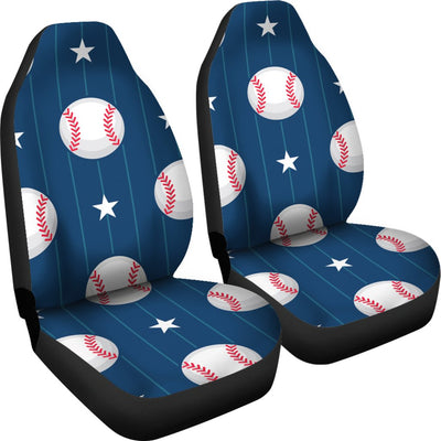 Baseball Star Print Pattern Universal Fit Car Seat Covers