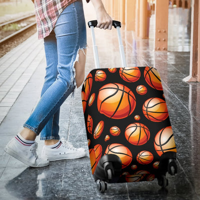 Basketball Black Background Pattern Luggage Cover Protector