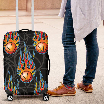 Basketball Fire Print Pattern Luggage Cover Protector