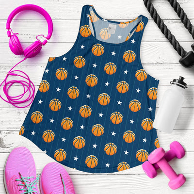 Basketball Star Print Pattern Women Racerback Tank Top