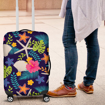 Beach Seashell Floral Theme Luggage Cover Protector