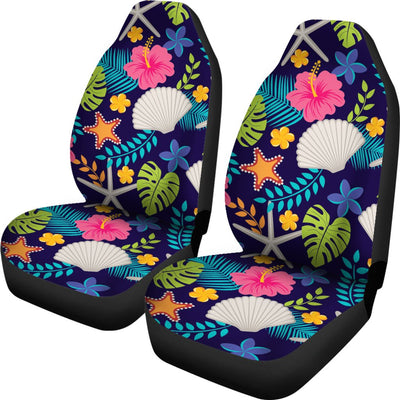 Beach Seashell Floral Theme Universal Fit Car Seat Covers