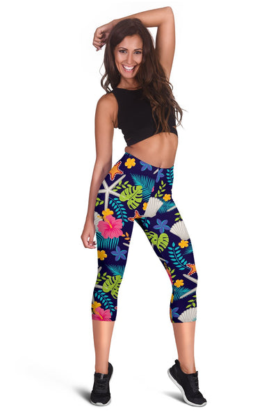 Beach Seashell Floral Theme Women Capris