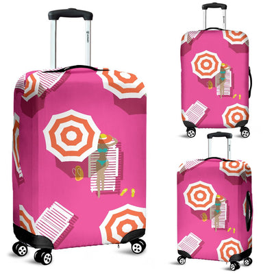 Beach Top View Umbrella Theme Luggage Cover Protector