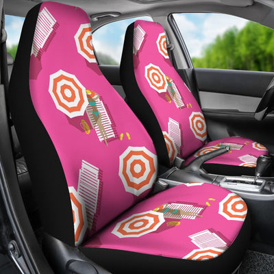 Beach Top View Umbrella Theme Universal Fit Car Seat Covers