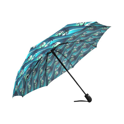 Beach Wave Design Print Automatic Foldable Umbrella