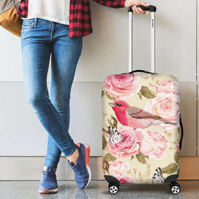 Bird Butterfly Pink Flower Print Pattern Luggage Cover Protector