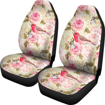 Bird Butterfly Pink Flower Print Pattern Universal Fit Car Seat Covers