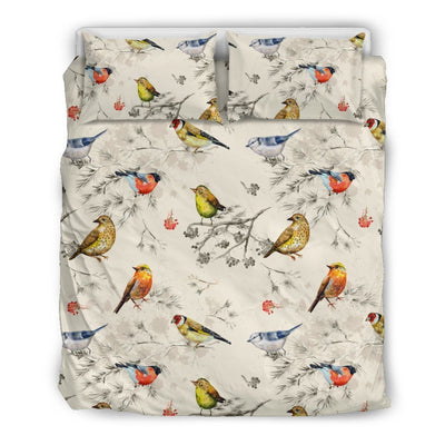 Bird Watercolor Design Pattern Duvet Cover Bedding Set