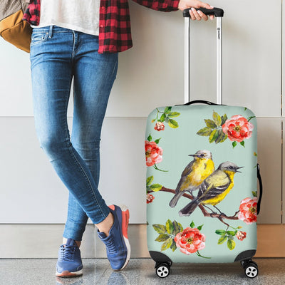Bird With Red Flower Print Pattern Luggage Cover Protector