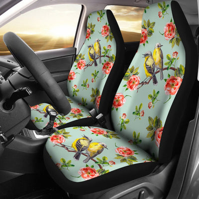 Bird with Red Flower Print Pattern Universal Fit Car Seat Covers