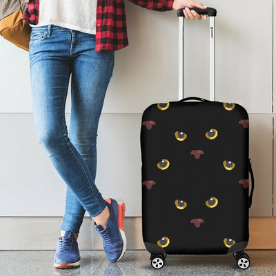 Black Cat Face Print Pattern Luggage Cover Protector