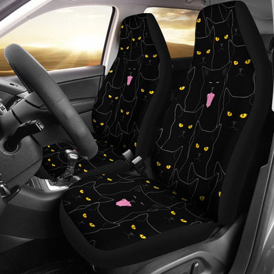 Black Cat Yellow Eyes Print Pattern Universal Fit Car Seat Covers