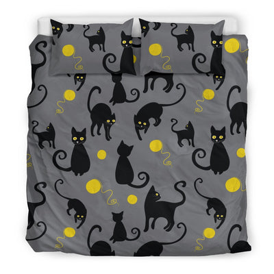 Black Cat Yellow Yarn Print Pattern Duvet Cover Bedding Set