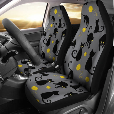 Black Cat Yellow Yarn Print Pattern Universal Fit Car Seat Covers