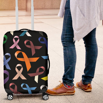 Breast Cancer Awareness Colorful Print Luggage Cover Protector