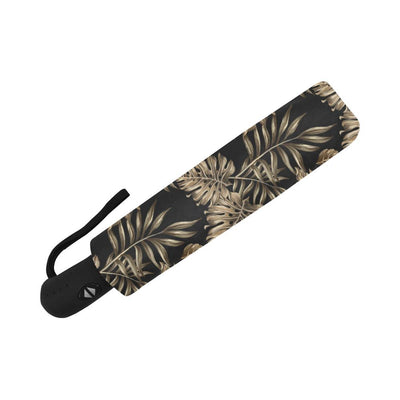 Brown Tropical Palm Leaves Automatic Foldable Umbrella