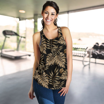 Brown Tropical Palm Leaves Women Racerback Tank Top