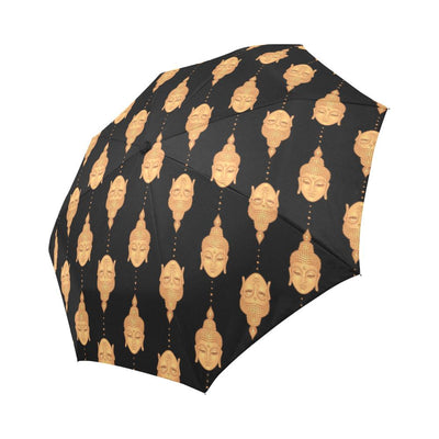 Buddha Head Gold Print Automatic Foldable Umbrella