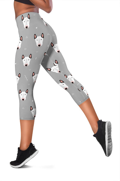 Bull Terrier Head Print Pattern Women Capris