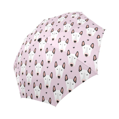 Bull Terrier Pink Print Pattern Automatic Foldable Umbrella