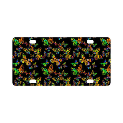 Butterfly Neon Color Print Pattern Classic License Plate-JTAMIGO.COM