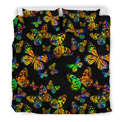 Butterfly Neon Color Print Pattern Duvet Cover Bedding Set