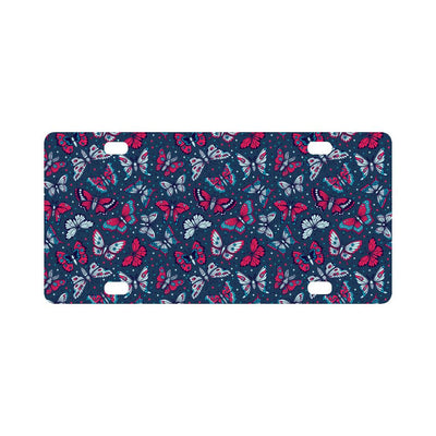 Butterfly Red Deep Blue Print Pattern Classic License Plate-JTAMIGO.COM