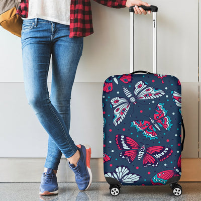 Butterfly Red Deep Blue Print Pattern Luggage Cover Protector