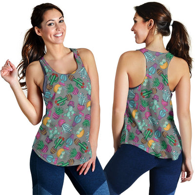 Cactus Colorful Print Pattern Women Racerback Tank Top