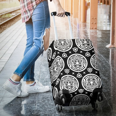 Calendar Aztec White Black Print Pattern Luggage Cover Protector