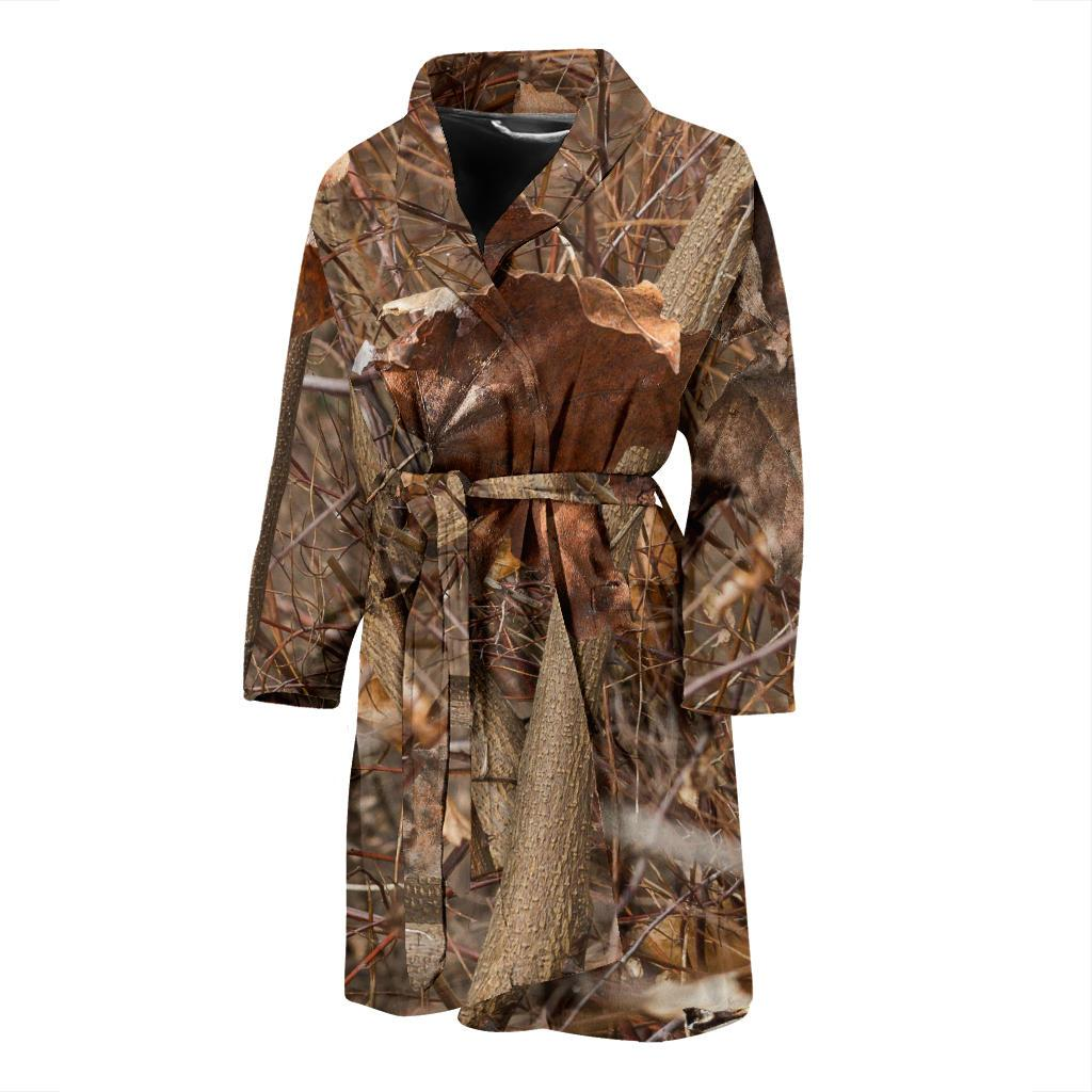 Camo Realistic Tree Forest Autumn Print Men Bath Robe-JTAMIGO.COM