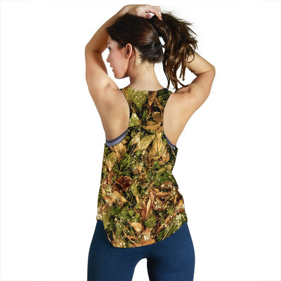 Camo Realistic Tree Forest Texture Print Women Racerback Tank Top