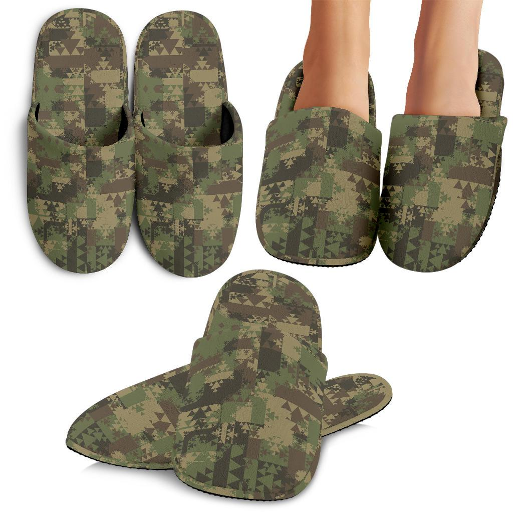 Camouflage Aztec Green Army Print House Slippers