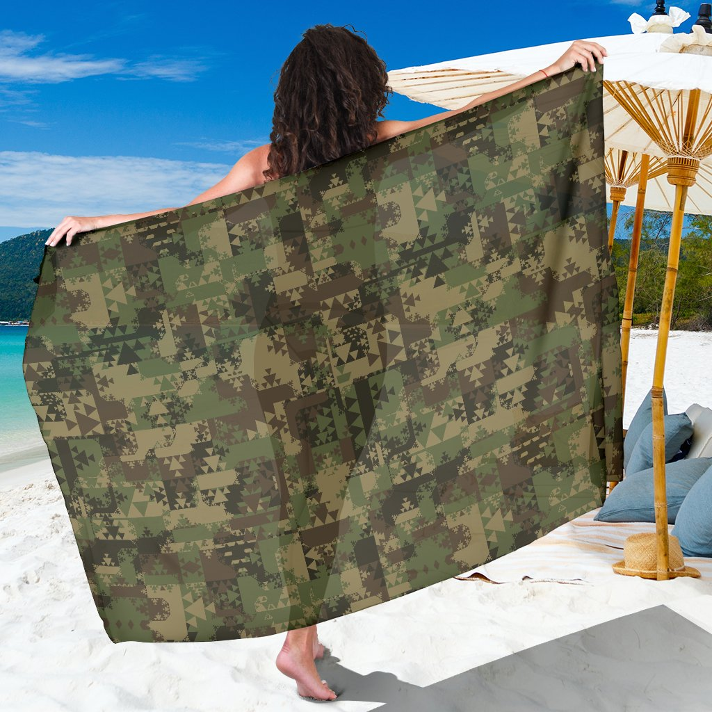 Camouflage Aztec Green Army Print Sarong Pareo Wrap