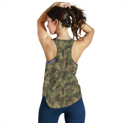 Camouflage Aztec Green Army Print Women Racerback Tank Top