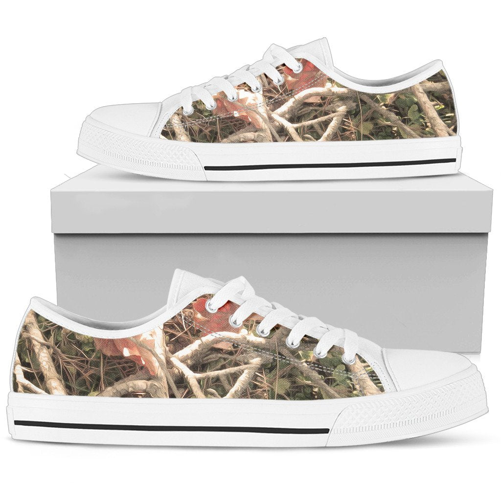 Camouflage Realistic Tree Authumn Print Women Low Top Shoes